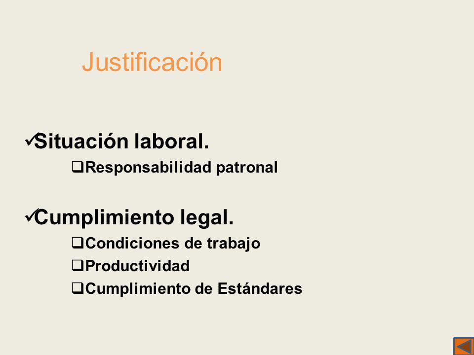 Justificación Situación laboral. Cumplimiento legal.