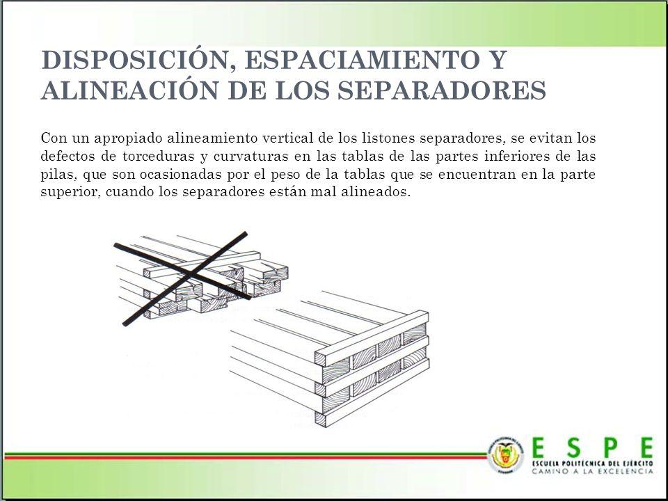 DISPOSICIÓN, ESPACIAMIENTO Y ALINEACIÓN DE LOS SEPARADORES