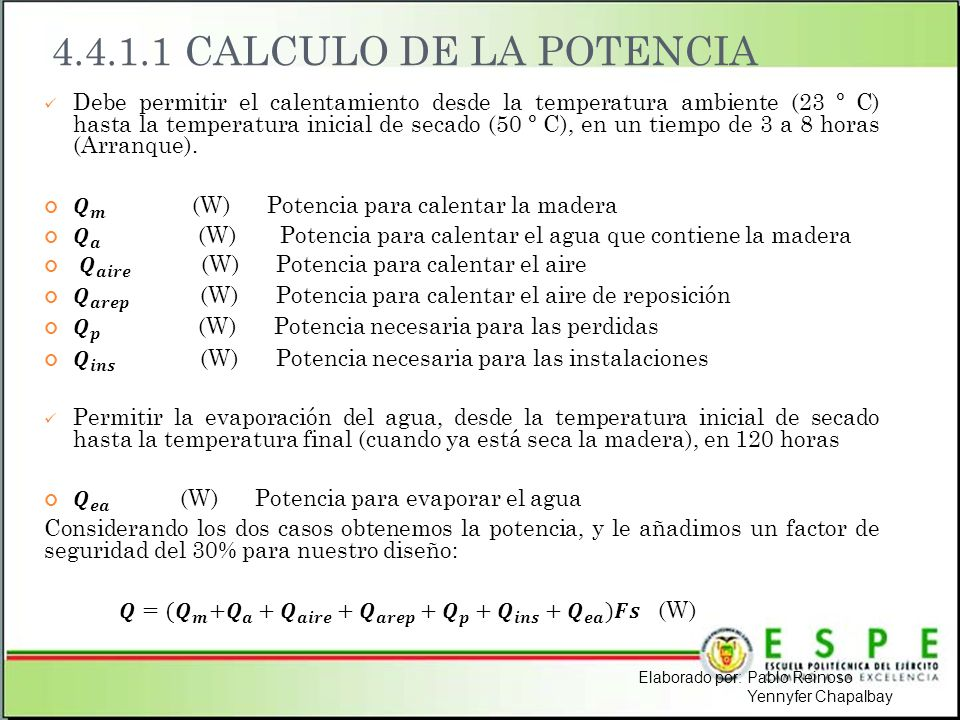 4.4.1.1 CALCULO DE LA POTENCIA