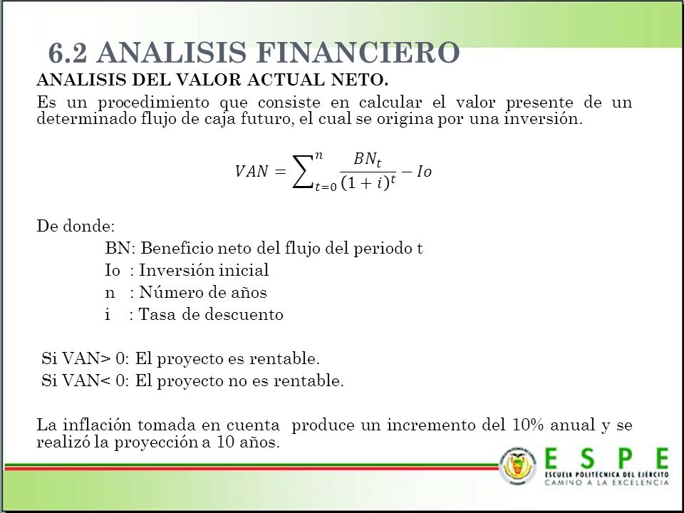 6.2 ANALISIS FINANCIERO ANALISIS DEL VALOR ACTUAL NETO.
