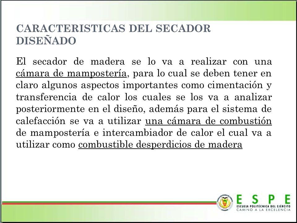CARACTERISTICAS DEL SECADOR DISEÑADO