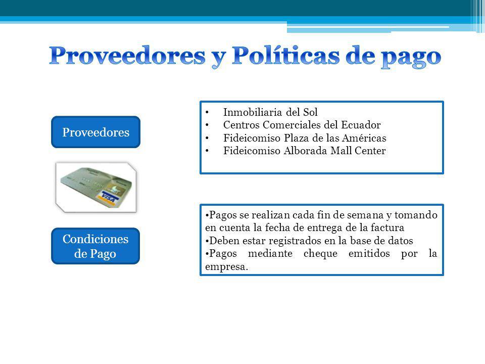 Proveedores y Políticas de pago