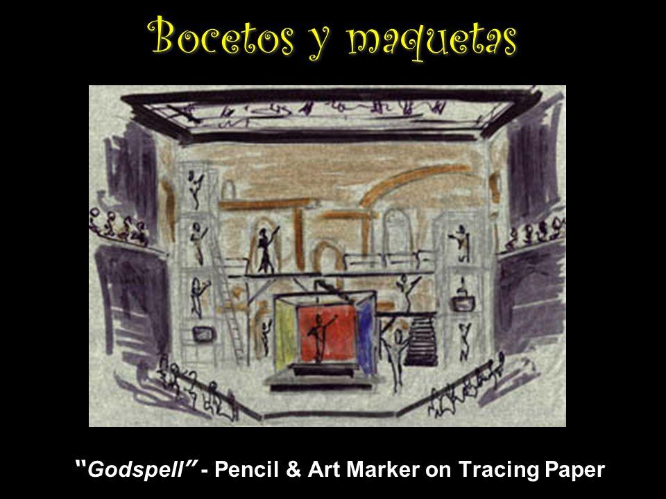 Bocetos y maquetas Godspell - Pencil & Art Marker on Tracing Paper