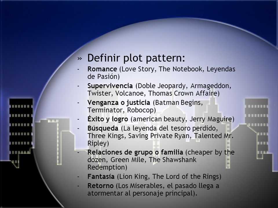 Definir plot pattern: Romance (Love Story, The Notebook, Leyendas de Pasión)