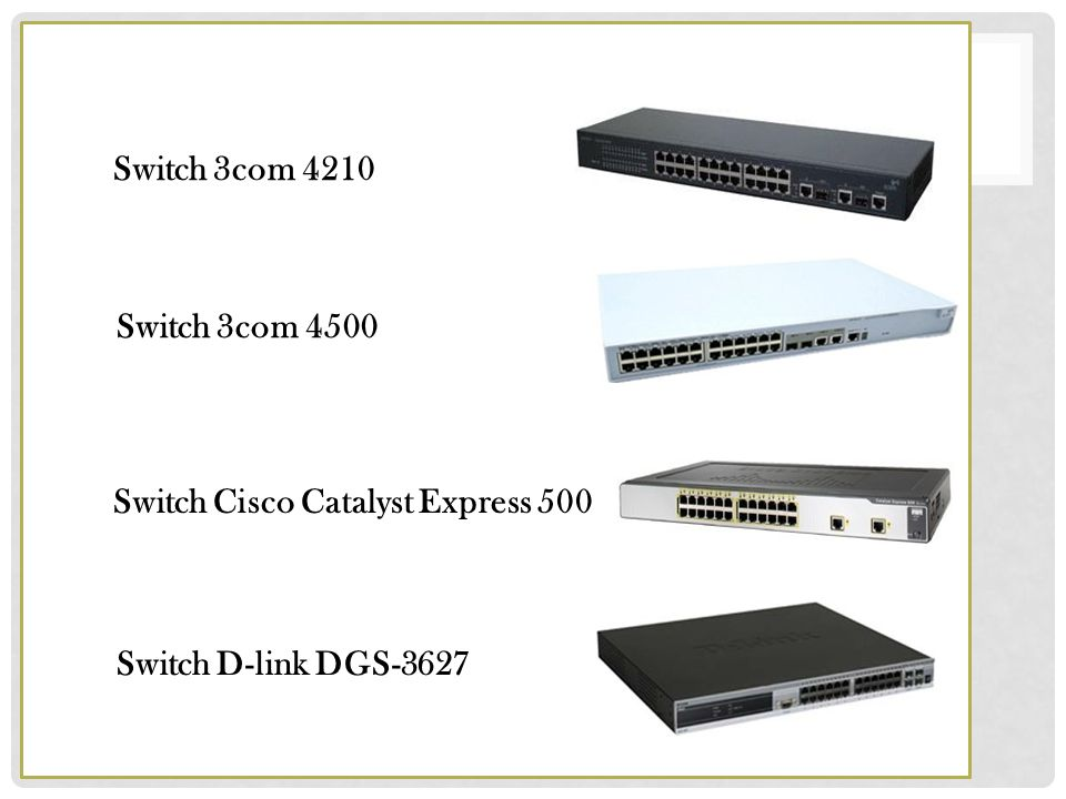 Switch 3com 4210 Switch 3com 4500 Switch Cisco Catalyst Express 500 Switch D-link DGS-3627