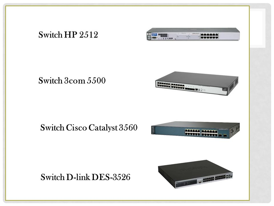 Switch HP 2512 Switch 3com 5500 Switch Cisco Catalyst 3560 Switch D-link DES-3526