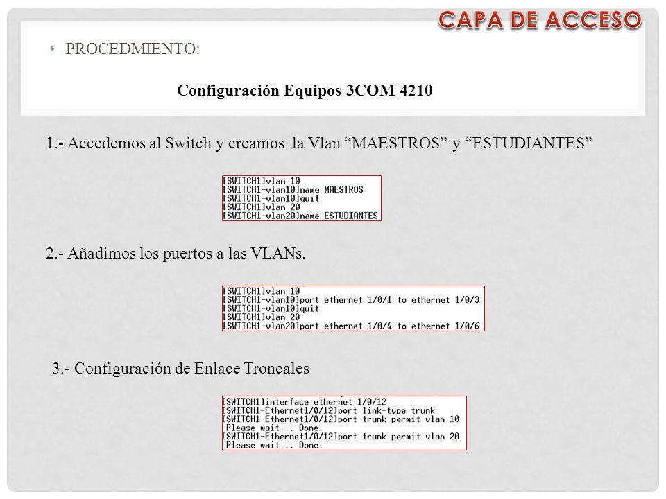 CAPA DE ACCESO PROCEDMIENTO: Configuración Equipos 3COM 4210