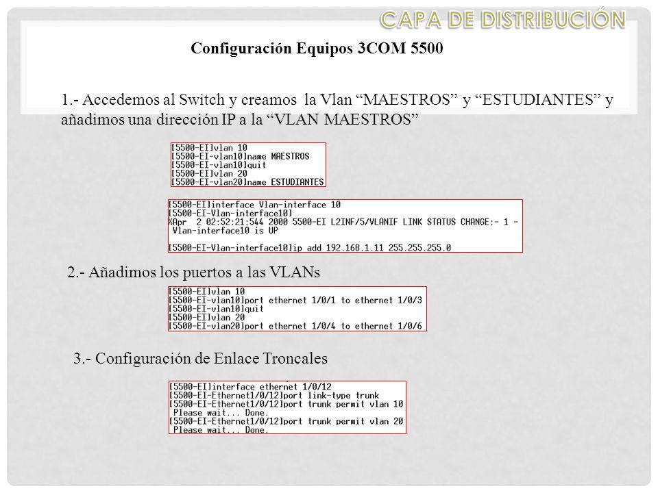 CAPA DE DISTRIBUCIÓN Configuración Equipos 3COM 5500