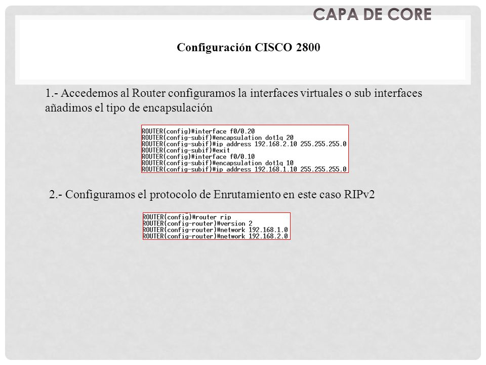 CAPA DE CORE Configuración CISCO 2800