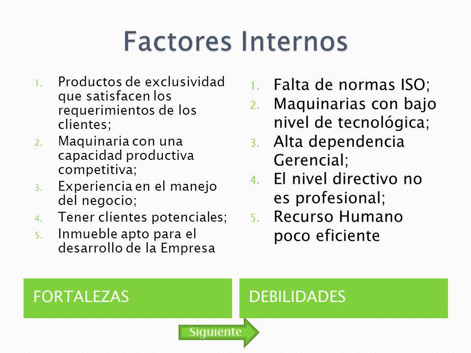 Factores Internos Falta de normas ISO;