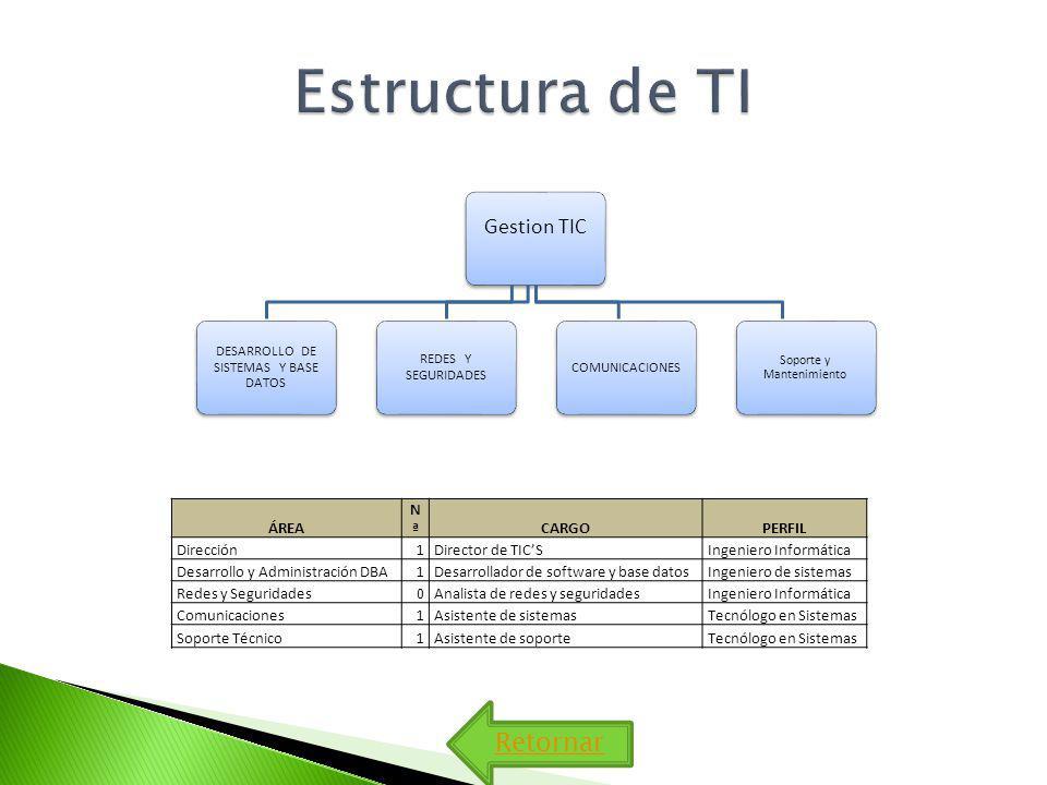 Estructura de TI Retornar Gestion TIC ÁREA Nª CARGO PERFIL Dirección 1