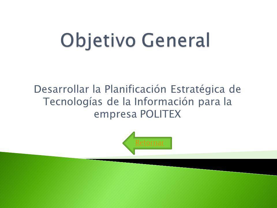 Objetivo General Desarrollar la Planificación Estratégica de Tecnologías de la Información para la empresa POLITEX.