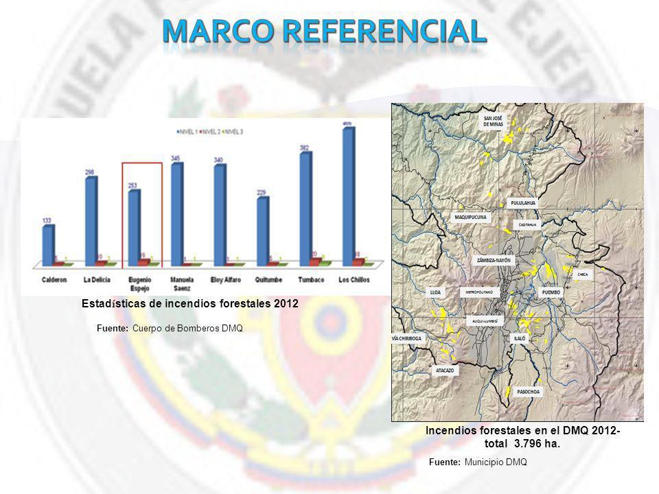 marco referencial Estadísticas de incendios forestales 2012
