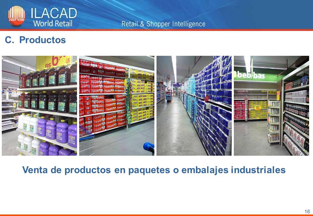 Productos Venta de productos en paquetes o embalajes industriales