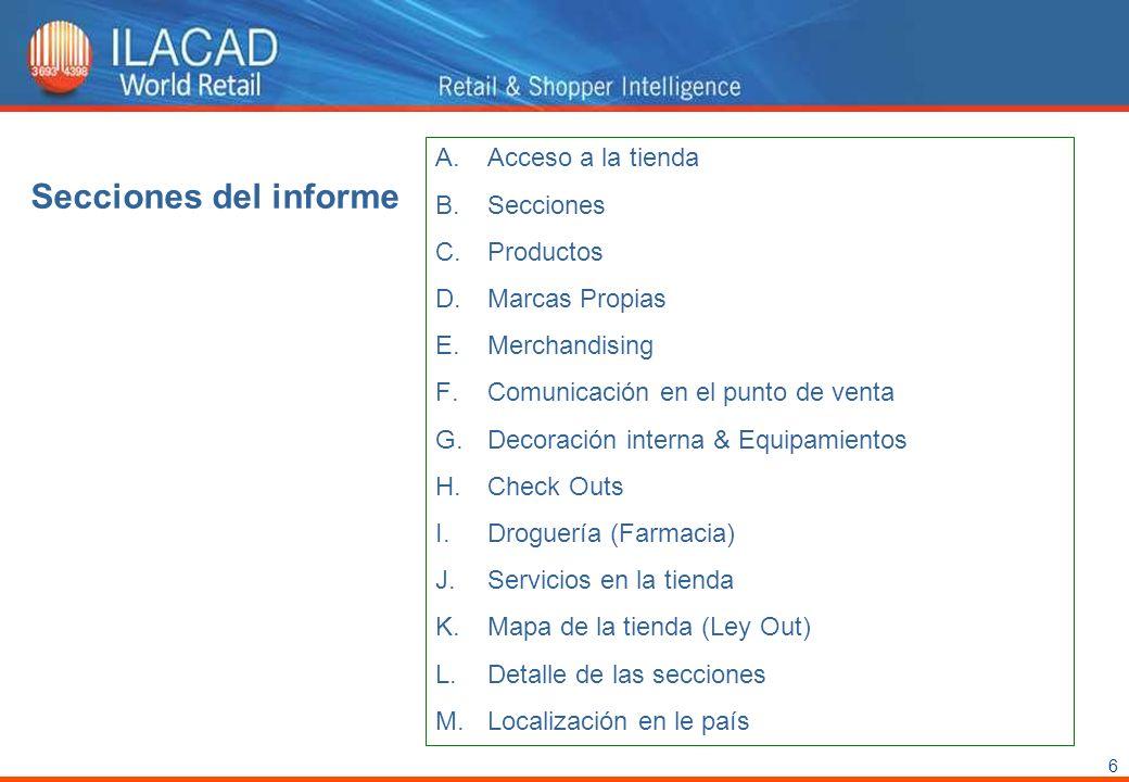 Secciones del informe Acceso a la tienda Secciones Productos