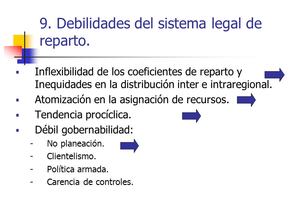 9. Debilidades del sistema legal de reparto.