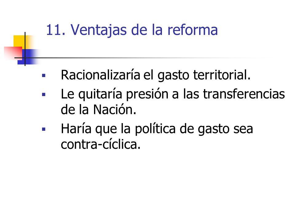 11. Ventajas de la reforma Racionalizaría el gasto territorial.