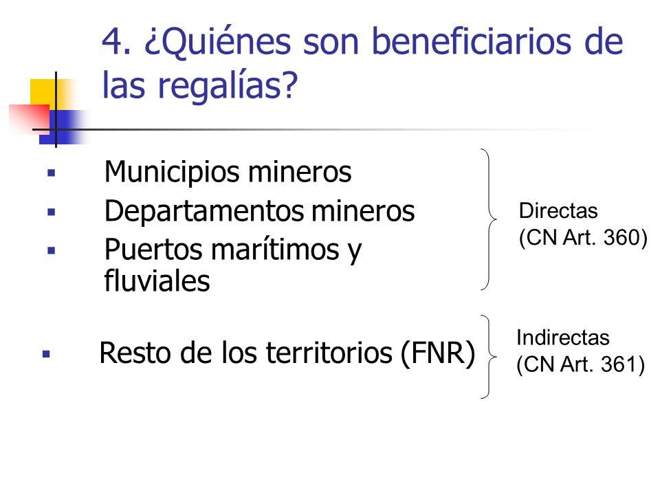 4. ¿Quiénes son beneficiarios de las regalías
