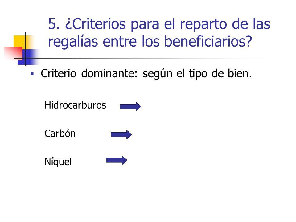 5. ¿Criterios para el reparto de las regalías entre los beneficiarios