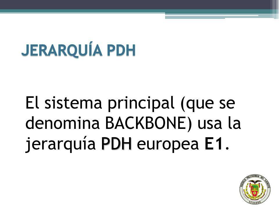 JERARQUÍA PDH El sistema principal (que se denomina BACKBONE) usa la jerarquía PDH europea E1.