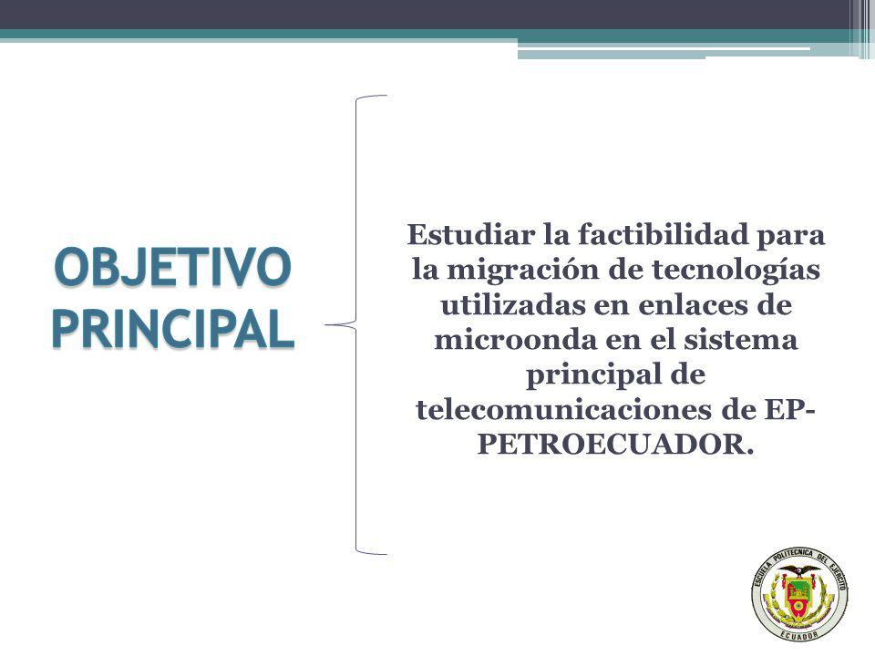 Estudiar la factibilidad para la migración de tecnologías utilizadas en enlaces de microonda en el sistema principal de telecomunicaciones de EP- PETROECUADOR.