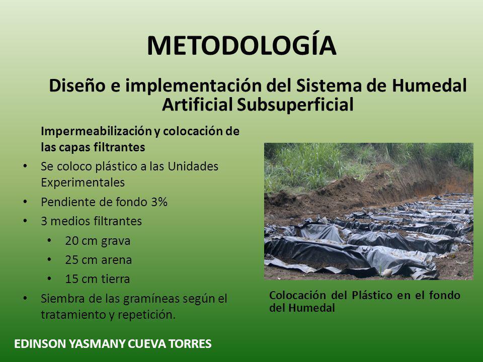 METODOLOGÍA Diseño e implementación del Sistema de Humedal Artificial Subsuperficial. Impermeabilización y colocación de las capas filtrantes.