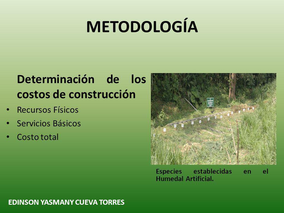 METODOLOGÍA Determinación de los costos de construcción