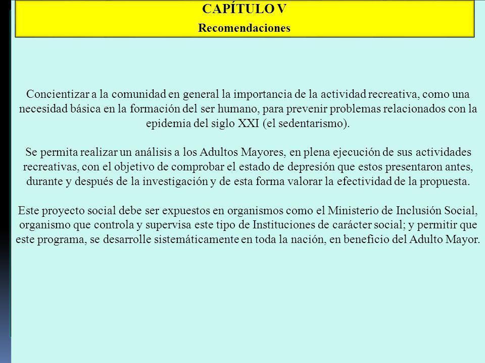 CAPÍTULO V Recomendaciones
