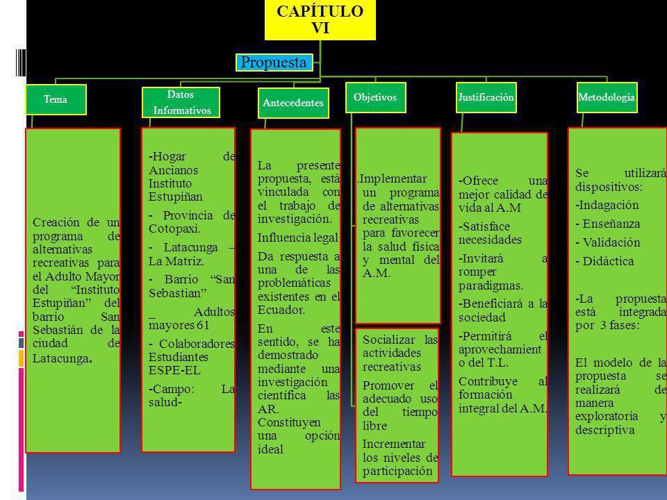 CAPÍTULO VI Propuesta. Tema.