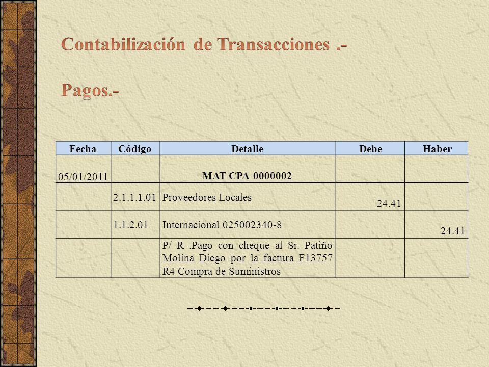 Contabilización de Transacciones .- Pagos.-
