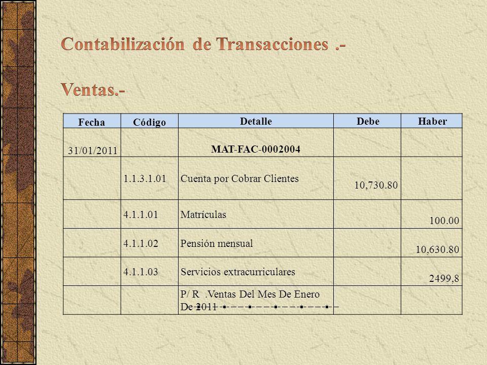 Contabilización de Transacciones .- Ventas.-