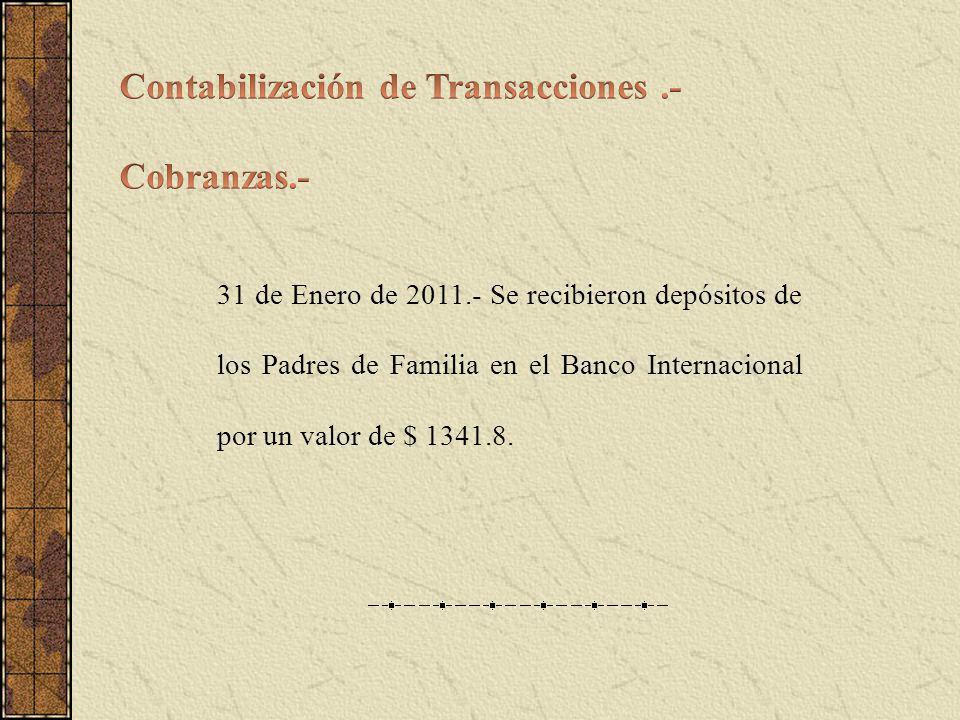 Contabilización de Transacciones .- Cobranzas.-