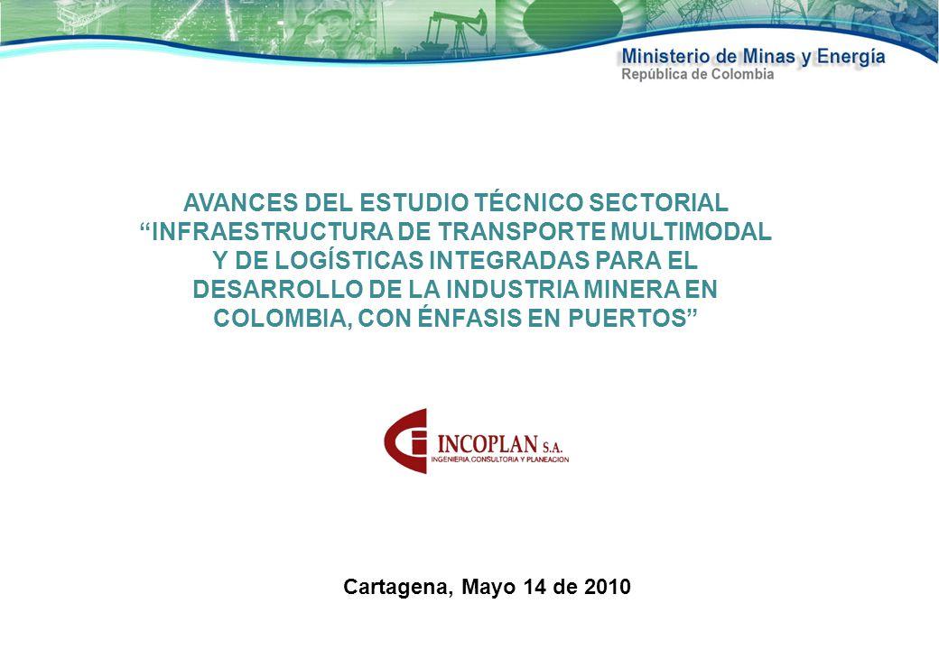 AVANCES DEL Estudio técnico sectorial Infraestructura de transporte multimodal y de logísticas integradas para el desarrollo de la industria minera en Colombia, con énfasis en puertos