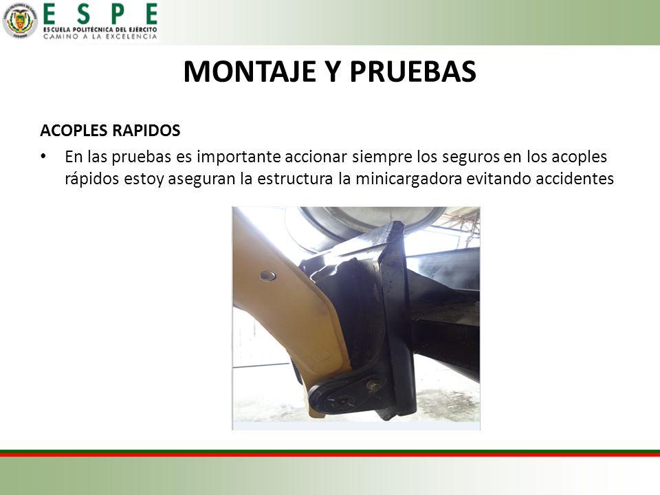 MONTAJE Y PRUEBAS ACOPLES RAPIDOS