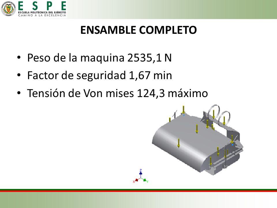 ENSAMBLE COMPLETO Peso de la maquina 2535,1 N. Factor de seguridad 1,67 min.