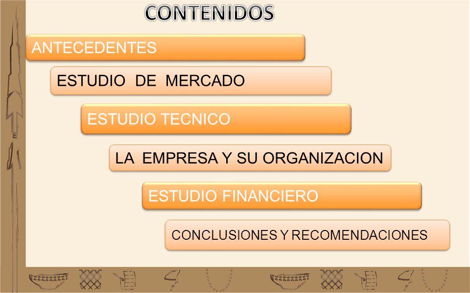 CONTENIDOS ANTECEDENTES ESTUDIO DE MERCADO ESTUDIO TECNICO