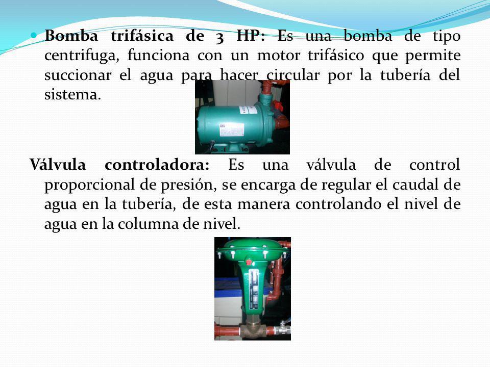 Bomba trifásica de 3 HP: Es una bomba de tipo centrifuga, funciona con un motor trifásico que permite succionar el agua para hacer circular por la tubería del sistema.