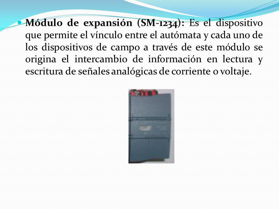 Módulo de expansión (SM-1234): Es el dispositivo que permite el vínculo entre el autómata y cada uno de los dispositivos de campo a través de este módulo se origina el intercambio de información en lectura y escritura de señales analógicas de corriente o voltaje.