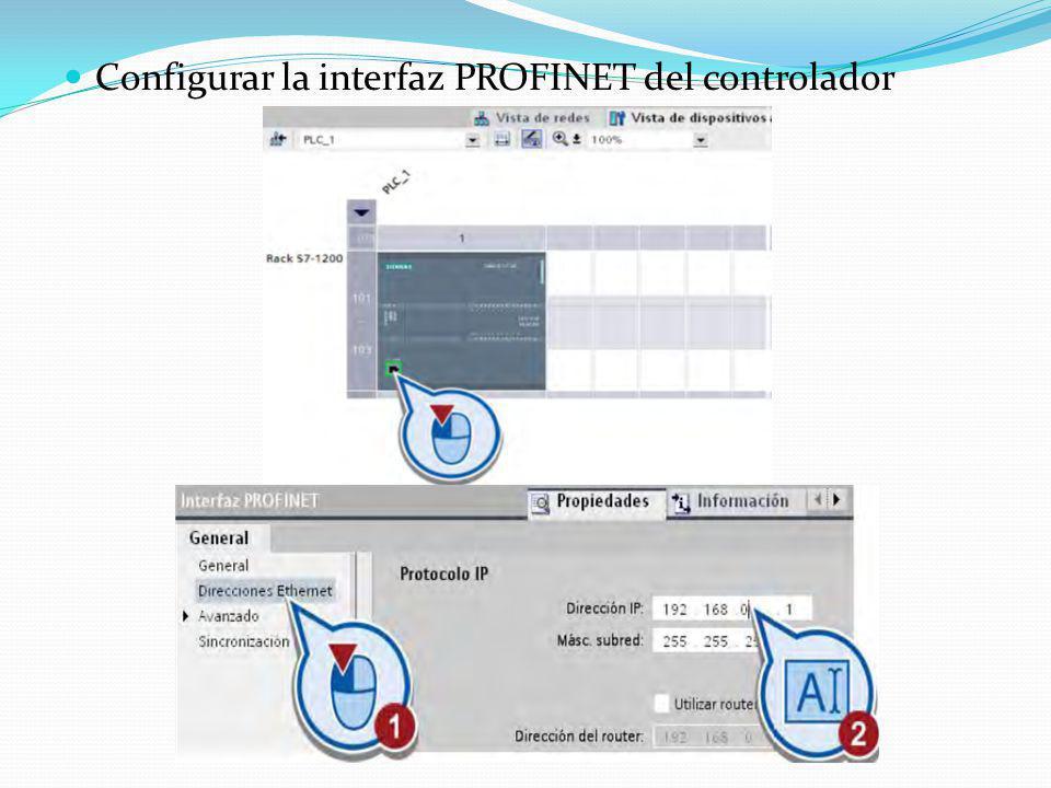 Configurar la interfaz PROFINET del controlador