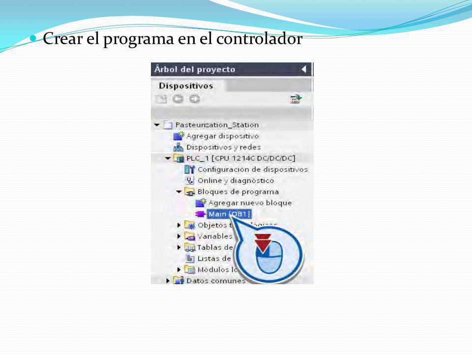 Crear el programa en el controlador