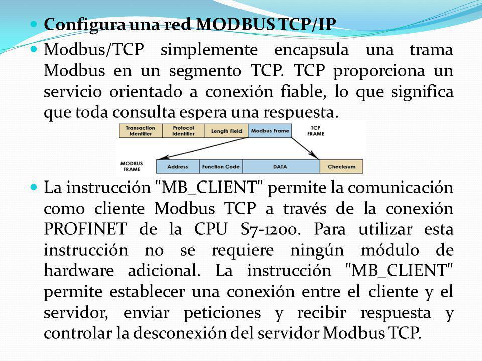 Configura una red MODBUS TCP/IP