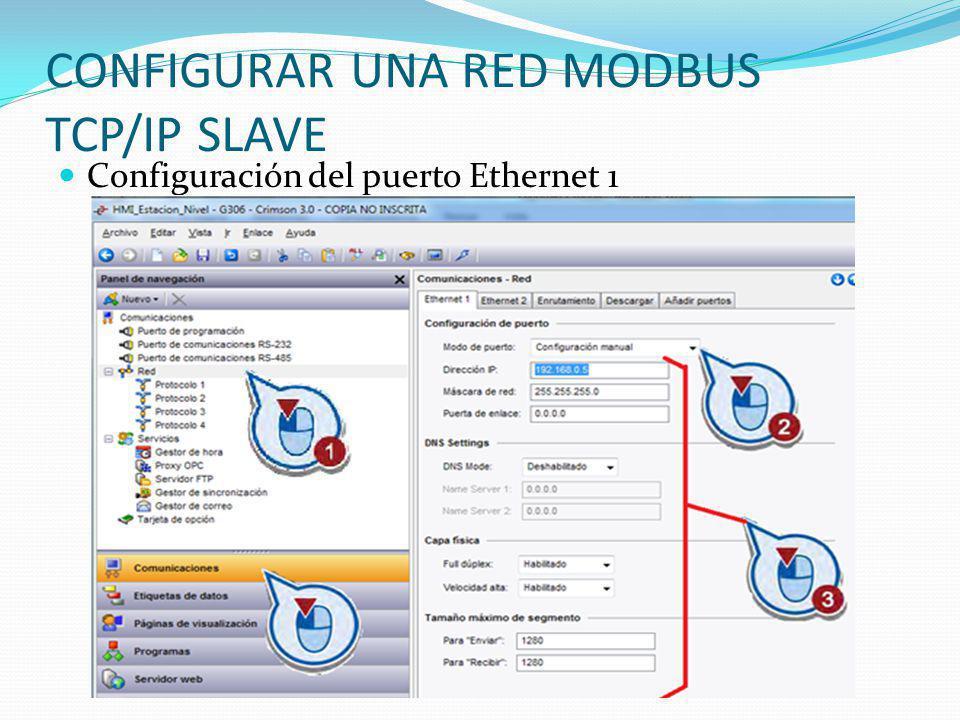CONFIGURAR UNA RED MODBUS TCP/IP SLAVE
