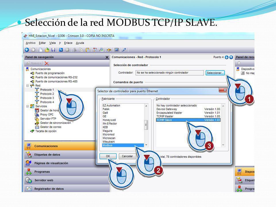 Selección de la red MODBUS TCP/IP SLAVE.