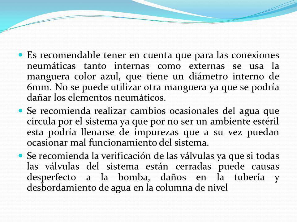 Es recomendable tener en cuenta que para las conexiones neumáticas tanto internas como externas se usa la manguera color azul, que tiene un diámetro interno de 6mm. No se puede utilizar otra manguera ya que se podría dañar los elementos neumáticos.