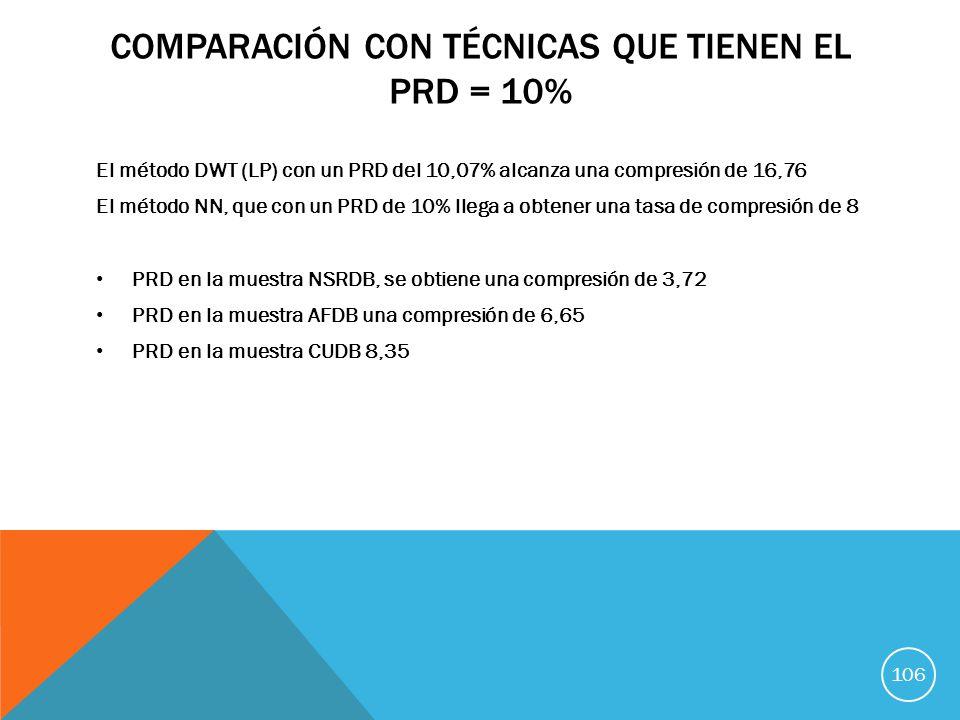Comparación con técnicas que tienen el PRD = 10%