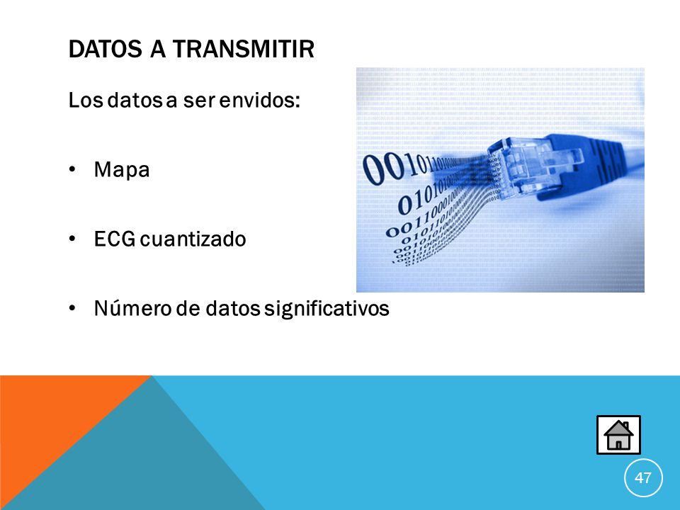 Datos a transmitir Los datos a ser envidos: Mapa ECG cuantizado