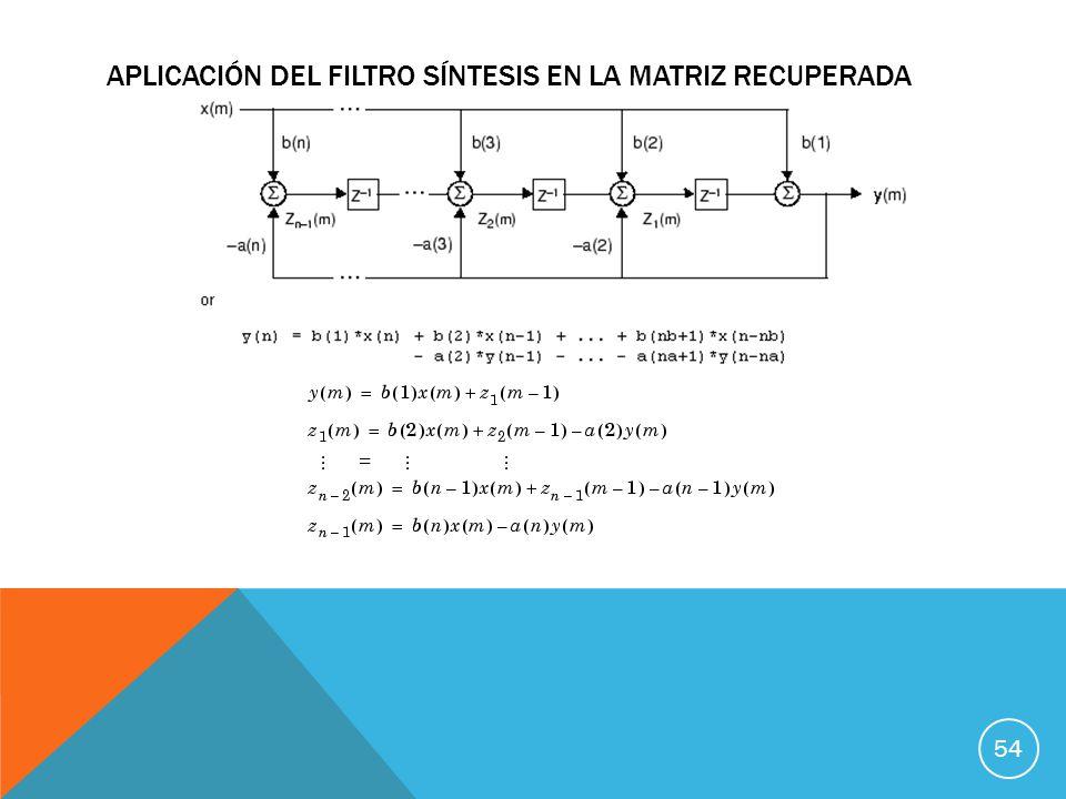 Aplicación del Filtro Síntesis en La Matriz recuperada