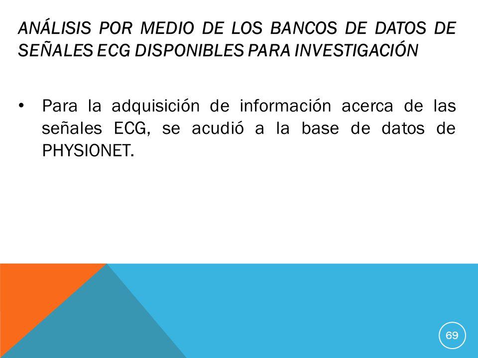 ANÁLISIS POR MEDIO DE LOS BANCOS DE DATOS DE SEÑALES ECG DISPONIBLES PARA INVESTIGACIÓN
