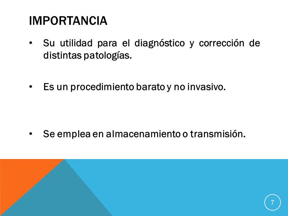importancia Su utilidad para el diagnóstico y corrección de distintas patologías. Es un procedimiento barato y no invasivo.