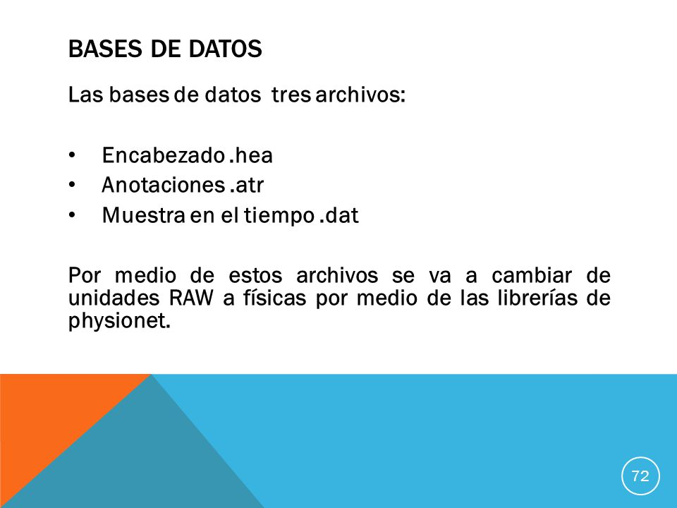 Bases de datos Las bases de datos tres archivos: Encabezado .hea